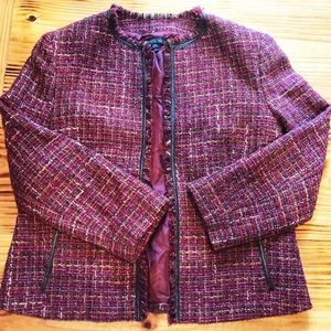 Lafayette 148 wool blend boucle tweed jacket